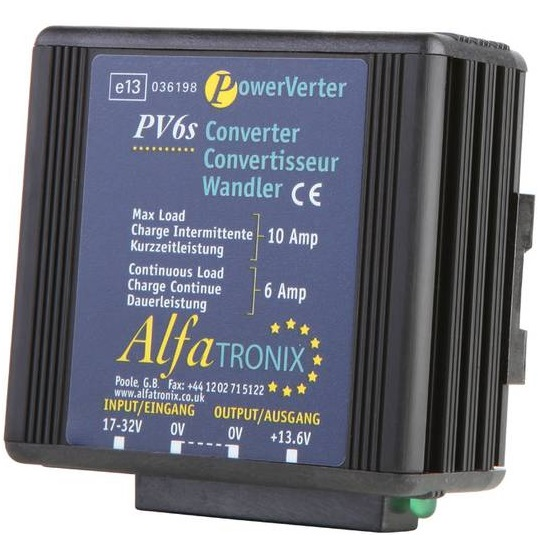 Alfatronix PV6s Jännitteenalentaja 24 / 12 VDC LA-ym. radiopuhelimille