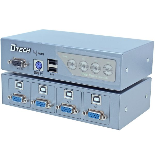 DTECH DT-8041 KVM 4-port USB 2.0+VGA+PS/2
