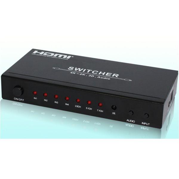 Playvision HDS-94B HDMI 1.4 kytkin, 4x1, IR, PIP, 4k