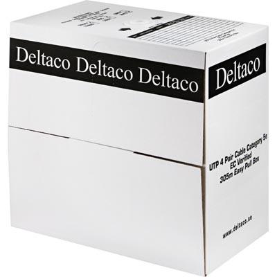 Deltaco TP-39 UTP asennuskaapeli, Cat5e, 305m laatikko, valkoinen